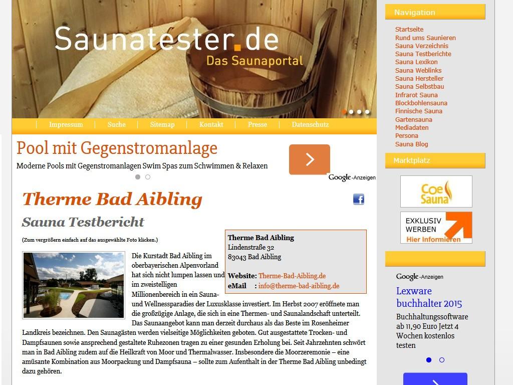 Testberichte für saunatester.de